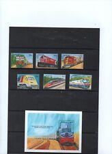 "Antigua & Barbuda year 1995, series scott 1934/39 + sheet block ""trains"" mnh."