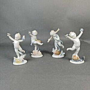 Ilmenau GDR Porcelain Figures Four Figurines Children Fruit Flowers Birds RTG/LH