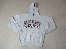 VINTAGE Disney Mickey Mouse Hoodie Sweater Adult Medium Gray Blue Mens 90s *