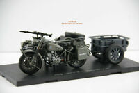 Atlas German Panzer Gray BMW R75 Motorcycle With Trailer 1/24 Diecast Model