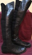 Stuart Weitzman 50/50 Black Leather Nappa Knee High Boots Size 10M