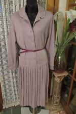 VINTAGE 70'S ~ LA RONDE FASHIONS ~ Mauve/Pleats SHIRT/DRESS/Belt * Sz 14 *