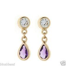 9ct Gold Teardrop Amethyst CZ DROP DANGLE Earrings Ladies Anniversary GIFT BOX N