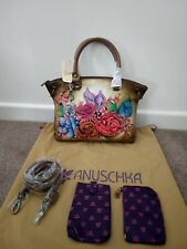 "Womens Anuschka Leather Hand Painted ""Lush Lilac""610-LLC Satchel Bag Handbag"