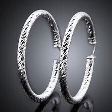 Charming 925Sterling Silver Smooth Waterwave Accessories Hoop Earrings FE592