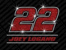 Nascar: Joey Logano #22 - Bling - Iron-on Glitter Vinyl & Rhinestone Transfer
