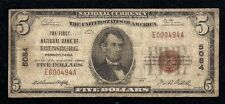 Ebensburg, Pennsylvania, Charter #5084, $5.00, 1929 T-1, Very Good!
