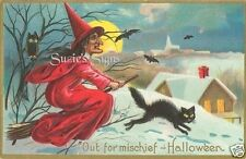 Fabric Block Vintage Halloween Riding  Witch LRG 8x11