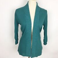 COLDWATER CREEK Green 3/4 Ruched Sleeve Cardigan - Size XS (4)