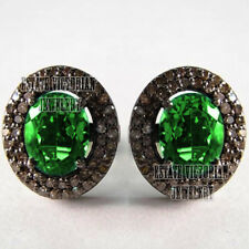 Victorian 1.91Cts Rose Cut Diamond Emerald Studded Silver Jewelry Studs Earring