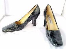 """Bellini Size 7.5M Black & Silver Snake Skin Pattern Leather SqrToe Pump 3""""Heel"""