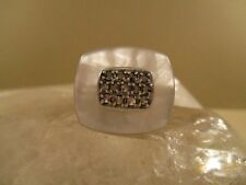 Gorgeous! Sterling Silver Mother of Pearl Marcasite Ring Size 8 US 19.55 grams!