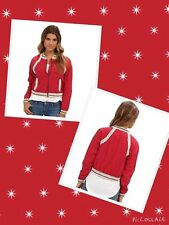 Free People Sz M Crochet Inset Baseball Jacket Ruby New