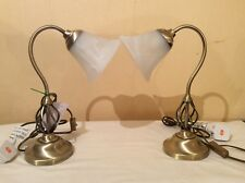 BNWT PAIR of Antique Brass Swan Neck barleyTwist Lamp/Frosted glass 'bell' Shade