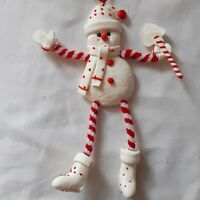 Vintage Christmas Chenille Snowman Ornament Pipe Cleaner Resin Holiday 1990s