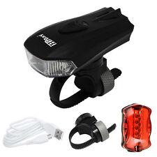 USB LED Fahrradlicht Set Fahrradbeleuchtung Fahrradlampe+5LEDs Fahrrad Rücklicht
