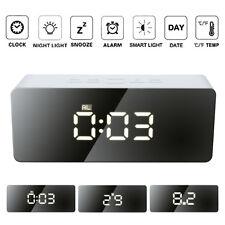 Portable Digital Mirror Alarm Clock Night Light LED Time Snooze Temperature Lamp