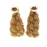 Vintage Retro Gold Tone Braided Mesh Fashion Clip On Earrings