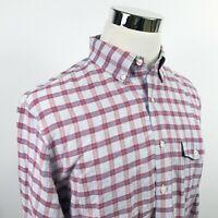 J Crew Mens Large Slim Fit Shirt Baird McNutt Linen BLend Red Blue Plaid Casual