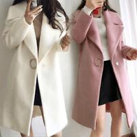 Women Winter Warm Wool Lapel Trench Parka Coat Long Jacket Overcoat Outwear Tops