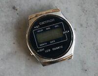 ZETRON 35 mm rare vintage digital LCD LIGHT date quartz watch head PARTS SPARES