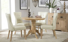 Kingston Round Oak Dining Room Table and 4 Bewley Leather Chairs Set - Ivory