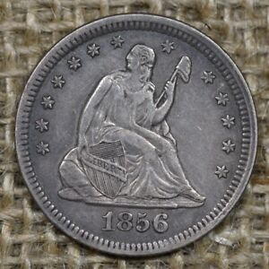 1856 25C XF Seated Liberty Quarter Silver