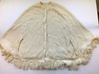 Vintage Ivory White Lightweight Open Knit Womens Shawl Cape Fringe Poncho