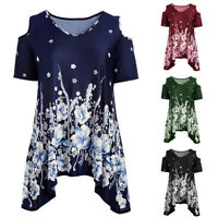 Women Cold Shoulder Blouse Floral V Neck Short Sleeve Casual T Shirt Tunic Tops