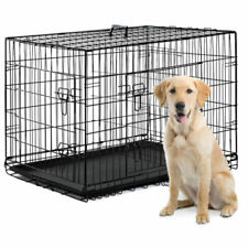 Dog Crate Kennel Folding Metal Pet Cage S/M/L/XL/XXL 2 Door Divider Tray Pan