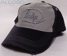 Hat Cap Dodge Text Distressed Patch Grey Black SLW