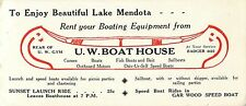 """""""Rent Your Boating Equipment From the U.W. Boathouse"""", Madison WI  Blotter"""