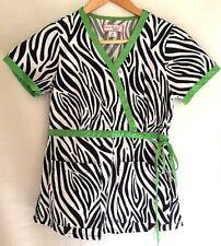 Koi Scrub Top XS Black White Green Zebra Moc Wrap 115
