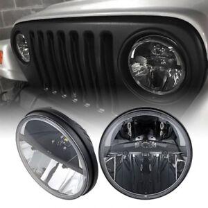 Pair 7'' CREE Round LED Headlight Hi/Lo Beam for 97-18 Jeep Wrangler JK TJ CJ LJ