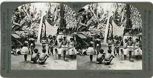 Stereoview New Guinea WOMEN BARE BREASTS PAPUAN VILLAGE 15985 ve592b fx