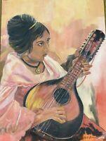 Spanish Senorita Mandolin Music Dorsee Sternberg Seattle Artist Original Acrylic