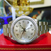 Mens ROLEX AIRKING Precision Stainless Steel Diamond Silver Dial Watch
