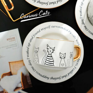 """""""Curious Cats"""" Ceramic Coffee Mug Cups with Spoon Tray Afternoon Tea Drinkware"""