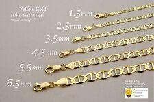 """Ouro AMARELO SÓLIDO 10k Colar de Corrente Mariner link 1.5-6mm Masculino Feminino Tamanho 16"""" -36"""""""