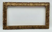 Vintage Ornate Art Nouveau Picture Frame Gold Painted Wood Gesso 19 x 11 Inches