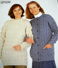 "1683 LADIES LOVELY ARAN SWEATER & CARDIGAN KNITTING PATTERN  32-46"" 81-117cm"