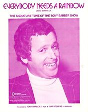 TONY BARBER TV SHOW - EVERYBODY NEEDS A RAINBOW Original SHEET MUSIC Australia