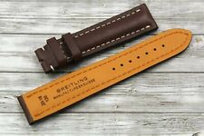 Breitling Watch Strap Brown Real Leather Trim Cream 20/18mm New Unisex