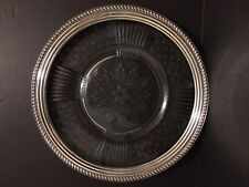 """Crystal Plate with Sterling Silver Rim - 14"""" diameter"""