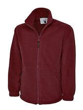 """2 X Uneek Premium Full Zip Micro Fleece Jacket Mens 380 GSM Warm Top (uc601) Large 42"""" - 44"""" Maroon"""