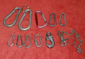 BULK LOT OF 10 x CARABINER SNAP HOOKS CLIPS CLASPS & 1 x BELT CLIP WITH CHAIN