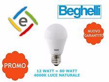 LAMPADINA GOCCIA LED 12W = 80W E27 LUCE NATURALE 4000K BEGHELLI 56934