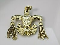 Vintage Court Jester Face Brooch Pin Gold Tone Metal Chains Mardi Gras Shiny
