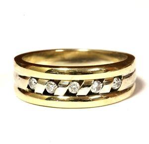 14k white yellow gold .25ct SIH mens round diamond wedding band ring 9.3g estate