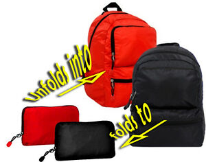 CLEARANCE!!  BLACK or RED  Backpack FOLDS INTO POUCH zipper Pocket RIP STOP